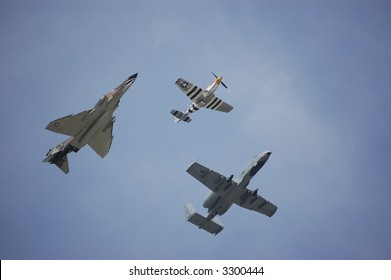 A P-51 Mustang, A-10 Thunderbolt II, and a F-4 Phantom II fly together in an Air Force Heritage Flight.