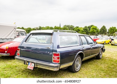 Paaren im Glien, Berlin, Germany, June 03, 2017, Oldtimer Show: Station wagon in type of Mercury Colony Park, glossy and shiny old classic retro auto