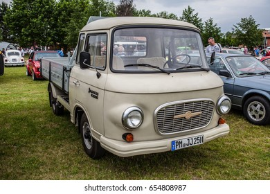 Paaren im Glien, Berlin, Germany, June 03, 2017, Oldtimer Show: Barkas B1000 Hainichen, glossy and shiny old classic retro auto