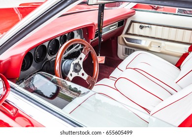 Paaren im Glien, Berlin, Germany, June 03, 2017, Oldtimer Show: Mercury Cougar XR7 Fourth generation, glossy and shiny old classic retro auto