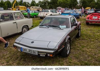 Paaren im Glien, Berlin, Germany, June 03, 2017, Oldtimer Show: Fiat Bertone X1/9, glossy and shiny old classic retro auto