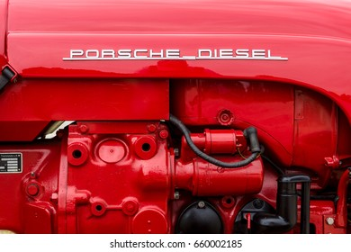 "PAAREN IM GLIEN, GERMANY - JUNE 03, 2017: Engine of a tractor Porsche Diesel Type 216, 1961. Exhibition ""Die Oldtimer Show""."