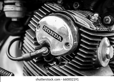 "PAAREN IM GLIEN, GERMANY - JUNE 03, 2017: Cylinder (engine) of a motorcycle Honda Dream CB250. Black and white. Exhibition ""Die Oldtimer Show""."