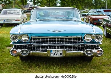 "PAAREN IM GLIEN, GERMANY - JUNE 03, 2017: Full-size luxury car Cadillac Coupe DeVille, 1959. Exhibition ""Die Oldtimer Show""."