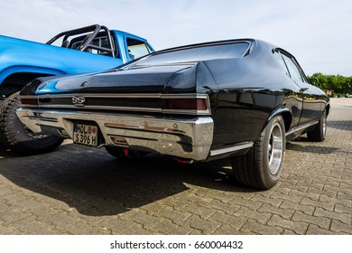 "PAAREN IM GLIEN, GERMANY - JUNE 03, 2017: Mid-size car Chevrolet Chevelle SS396 Hardtop Coupe, 1966. Rear view. Exhibition ""Die Oldtimer Show""."
