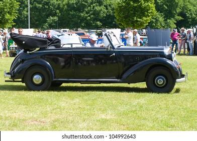 "PAAREN IM GLIEN, GERMANY - MAY 26: Car Mercedes-Benz 170 Cabriolet (W136), ""The oldtimer show"" in MAFZ, May 26, 2012 in Paaren im Glien, Germany"