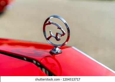 PAAREN IM GLIEN, GERMANY - MAY 19, 2018: Hood ornament of the personal luxury car Mercury Cougar XR-7. Die Oldtimer Show 2018.