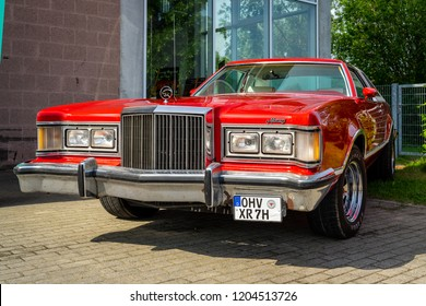 PAAREN IM GLIEN, GERMANY - MAY 19, 2018: Personal luxury car Mercury Cougar XR-7. Die Oldtimer Show 2018.