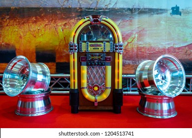 PAAREN IM GLIEN, GERMANY - MAY 19, 2018: The vintage musical jukeboxe. Die Oldtimer Show 2018.