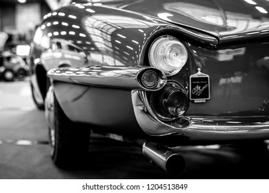 PAAREN IM GLIEN, GERMANY - MAY 19, 2018: Fragment of sports car Alfa Romeo Giulietta Sprint Speciale. Rear view. Coachbuilder Bertone. Black and white. Die Oldtimer Show 2018.