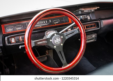PAAREN IM GLIEN, GERMANY - MAY 19, 2018: Cabin of mid-size car Dodge Coronet 500, 1968. Focus on dashboard. Die Oldtimer Show 2018.