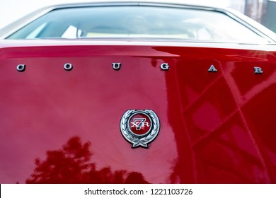 PAAREN IM GLIEN, GERMANY - MAY 19, 2018: Emblem of the personal luxury car Mercury Cougar XR-7. Die Oldtimer Show 2018.