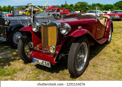 PAAREN IM GLIEN, GERMANY - MAY 19, 2018: Sports car MG TC Midget. Die Oldtimer Show 2018.