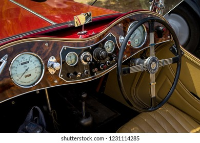 PAAREN IM GLIEN, GERMANY - MAY 19, 2018: Interior of a sports car MG TC Midget. Die Oldtimer Show 2018.