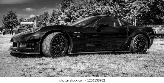 PAAREN IM GLIEN, GERMANY - MAY 19, 2018: Sports car Chevrolet Corvette (C6) Z06 Coupe. Black and white. Die Oldtimer Show 2018.