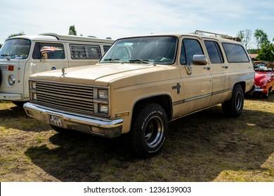 PAAREN IM GLIEN, GERMANY - MAY 19, 2018: Full-size pickup truck Chevrolet Silverado C10, 1982. Die Oldtimer Show 2018.