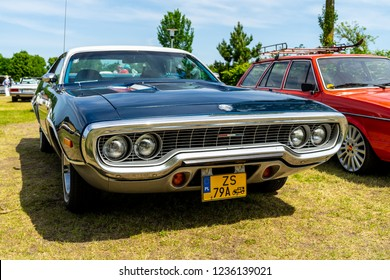 PAAREN IM GLIEN, GERMANY - MAY 19, 2018: Mid-size car Plymouth Satellite, 1972. Die Oldtimer Show 2018.