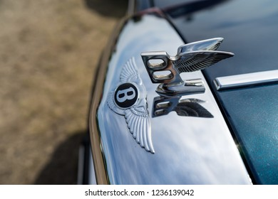 PAAREN IM GLIEN, GERMANY - MAY 19, 2018: Hood ornament of a full-size luxury car Bentley Mulsanne, 1986. Die Oldtimer Show 2018.