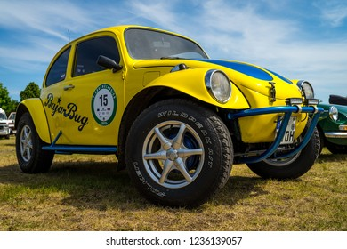 PAAREN IM GLIEN, GERMANY - MAY 19, 2018: A Baja Bug is an original Volkswagen Beetle modified to operate off-road. Die Oldtimer Show 2018.