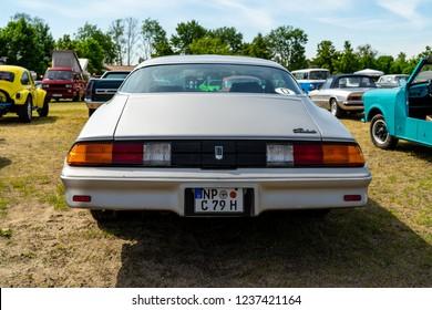"PAAREN IM GLIEN, GERMANY - MAY 19, 2018: Muscle car Chevrolet Camaro Berlinetta, 1979. Exhibition ""Die Oldtimer Show 2018""."