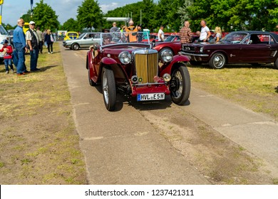"PAAREN IM GLIEN, GERMANY - MAY 19, 2018: Sports car MG TC Midget. Exhibition ""Die Oldtimer Show 2018""."
