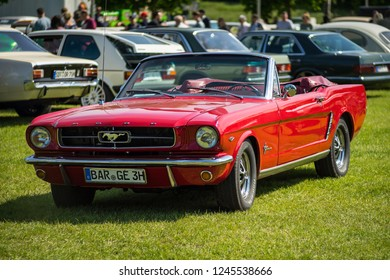 PAAREN IM GLIEN, GERMANY - MAY 19, 2018: Pony car Ford Mustang convertible, 1964. Die Oldtimer Show 2018.