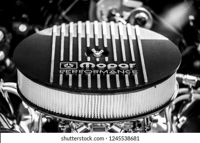 PAAREN IM GLIEN, GERMANY - MAY 19, 2018: Car part Mopar Performance. Mopar is the parts, service and customer care organization within Fiat Chrysler Automobiles. Black - white. Die Oldtimer Show 2018