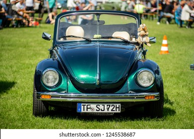 PAAREN IM GLIEN, GERMANY - MAY 19, 2018: Popular subcompact car Volkswagen Beetle Cabriolet. Die Oldtimer Show 2018.