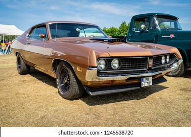 PAAREN IM GLIEN, GERMANY - MAY 19, 2018: Mid-size car Ford Torino 500, 1971. Die Oldtimer Show 2018.
