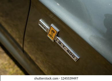 PAAREN IM GLIEN, GERMANY - MAY 19, 2018: Emblem of a pony car Shelby Cobra GT500, (high-performance version of the Ford Mustang). Die Oldtimer Show 2018.