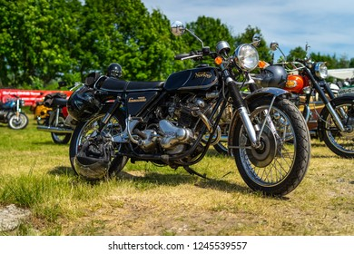 PAAREN IM GLIEN, GERMANY - MAY 19, 2018: A Classic British Motorcycle Norton Commando Mk1 750 cc. Die Oldtimer Show 2018.