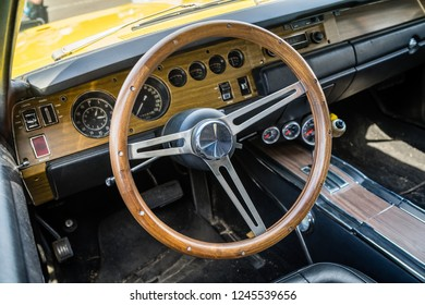 PAAREN IM GLIEN, GERMANY - MAY 19, 2018: Interior of a mid-size car Dodge Charger 500. Die Oldtimer Show 2018.