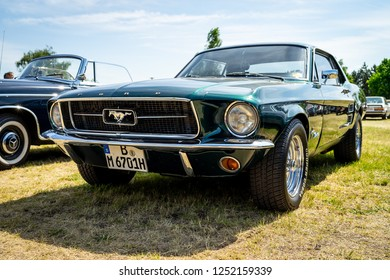 PAAREN IM GLIEN, GERMANY - MAY 19, 2018: Iconic American car Ford Mustang (first generation). Die Oldtimer Show 2018.