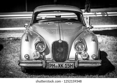 PAAREN IM GLIEN, GERMANY - MAY 19, 2018: Sports car Jaguar XK150 (FHC), 1961. Black and white. Die Oldtimer Show 2018.