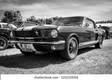 PAAREN IM GLIEN, GERMANY - MAY 19, 2018: Pony car Shelby Cobra GT350, (high-performance version of the Ford Mustang). Black and white. Die Oldtimer Show 2018.