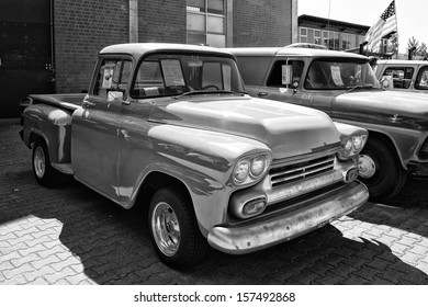 """PAAREN IM GLIEN, GERMANY - MAY 19: Detail of the full-size pickup truck Chevrolet Apache (1958), black and white, """"The oldtimer show"""" in MAFZ, May 19, 2013 in Paaren im Glien, Germany"""