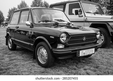 PAAREN IM GLIEN, GERMANY - MAY 23, 2015: Supermini Autobianchi A112, 1978. Black and white. The oldtimer show in MAFZ.