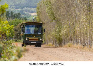 PAARL, SOUTH AFRICA - MARCH 2016: Paarl Tram taking tourists on a day of wine tasting
