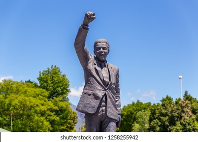 PAARL, SOUTH AFRICA - NOVEMBER, 2018: Statue of Nelson Mandela near Drakenstein prison