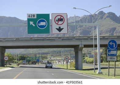 PAARL WESTERN CAPE SOUTH AFRICA - APRIL 2016 - The approach to the toll booths for the journey through the Huguenot toll tunnel on the N1 highway