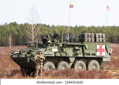 Pabrade/Lithaunia November 10, 2015 US Army Stryker Armored Personnel Carriers (APC)