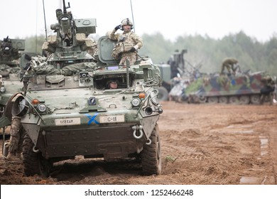 Pabrade/Lithaunia November 4, 2015 US Army Stryker Armored Personnel Carriers (APC)