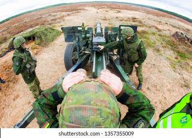 Pabrade/Lithuania June 12, 2016 M101 howitzer used by Lithuanian Armed Forces