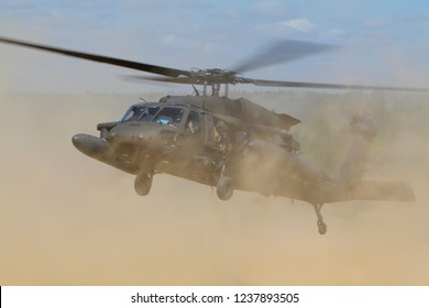 Pabrade/Lithuania June 15, 2016 United States Army Sikorsky UH-60 Blackhawk transport helicopters