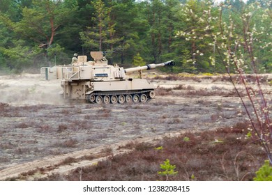 Pabrade/Lithuania October 19, 2015 M109 Palladin howitzer in action