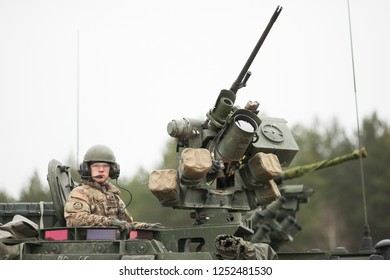 Pabrade/Lithuania October 2, 2015  50 mm caliber machine gun mounted on a military vehicle