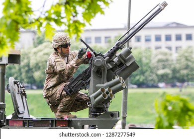 Pabrade/Lithuania October 2, 2015 50 mm caliber machine gun mounted on a military vehicle - Image