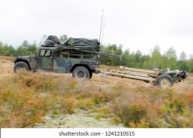 Pabrade/Lithuania, October 2, 2015 The M119A1/A2 is a lightweight towed howitzer in service with the US Army.