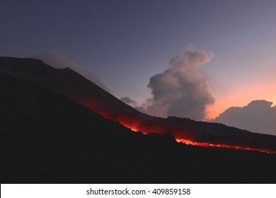 The Pacaya Volcano erupting in Antigua, Guatemala