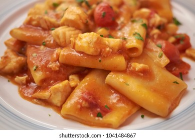 Paccheri pasta with grouper